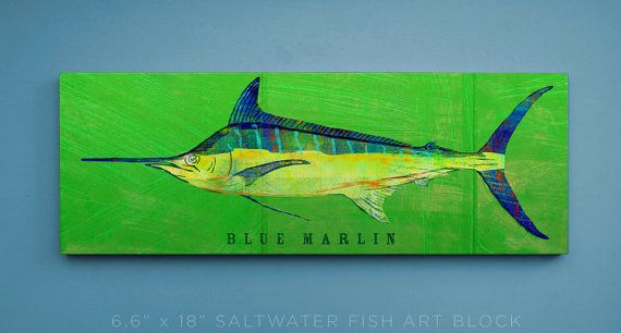 Blue Marlin Art Block- Saltwater Fish Art- Beach House Art- Unique Day Gift Ideas- Fish Gifts for Him- Dad Gifts- for Dad- Fathers Day Gifts