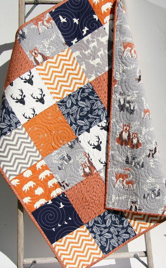 Baby Quilt, Boy, Orange Navy Blue Grey Gray, Elk Deer, Woodlands, Birch Forest, Modern Blanket, Bear Aztec, Crib Bedding, Children Toddler by SunnysideDesigns2