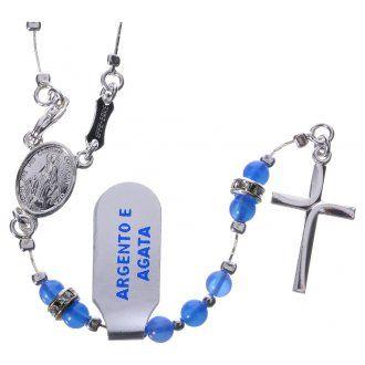 Rosario argento 800 agata blu crociera Miracolosa | vendita online su HOLYART