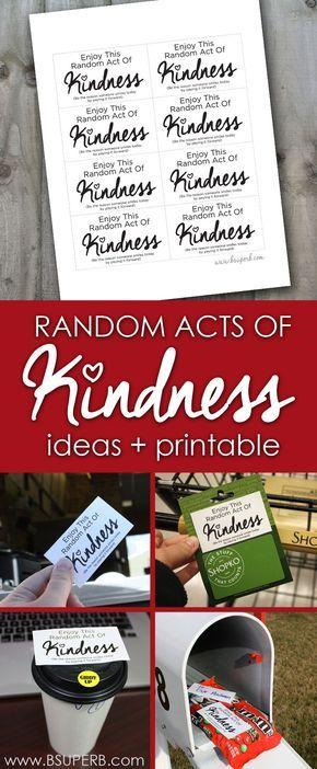 Random Acts of Kindness - Ideas & Printable