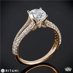 Ritani Double French-Set Diamond 'V' Engagement Ring