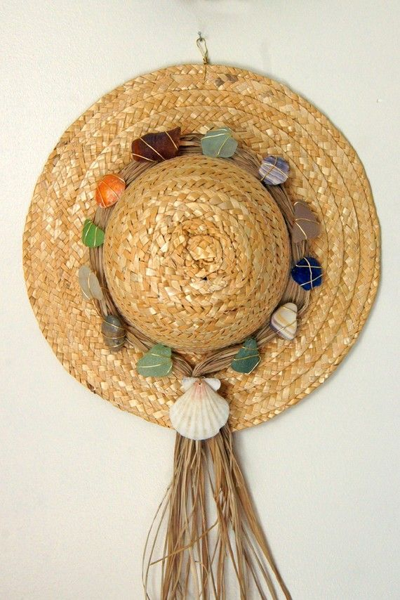 Beachy straw hat door or wall decoration with sea glass in for Hat hanging ideas