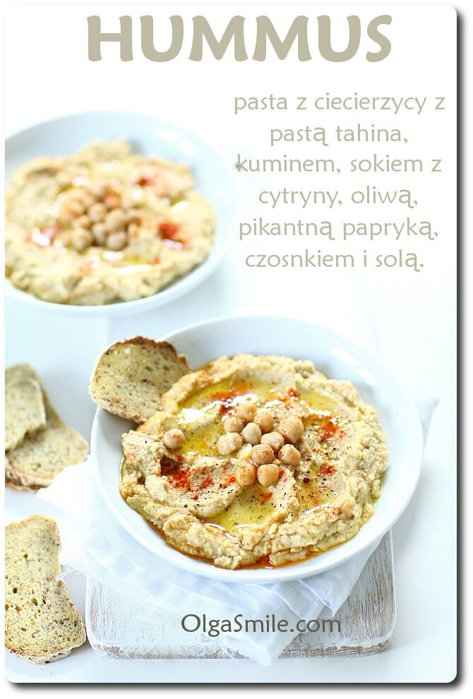 Hummus: - puszka cieciorki - sok z 1 cytryny - 4 łyżki tahini - 2 ząbki czosnku - 3 łyżki oliwy - szczypta soli, przyprawy