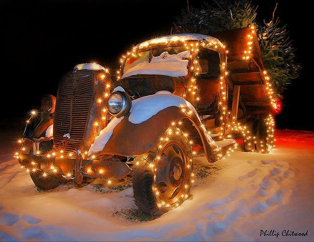 """Vintage truck with Christmas lights  