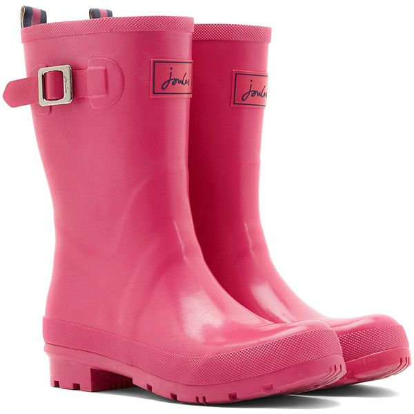 Joules Pink Kelly Wellly Rain Boot (€34) ❤ liked on Polyvore featuring shoes, boots, mid-calf boots, rubber sole boots, pink rubber boots, wellington boots, low-heel boots and pink rain boots