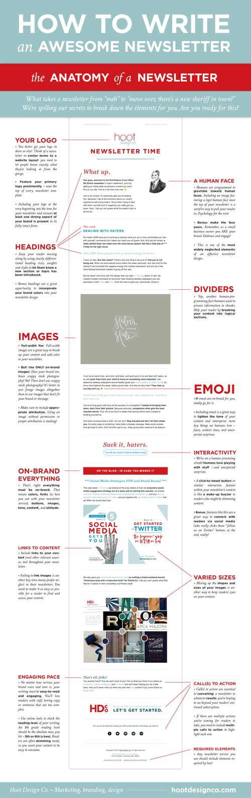 These are the key elements to writing a good newsletter. Keep them in mind when you go to write your next one!   Hoot Design Co.