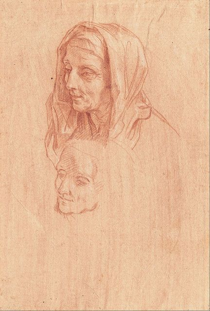 Carlo Maratti  Two studies for head of an old woman  1685  drawing  Museum Kunstpalast, Düsseldorf
