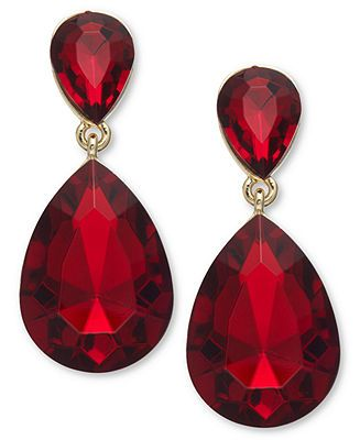 ali khan gold tone red double teardrop earrings fashion