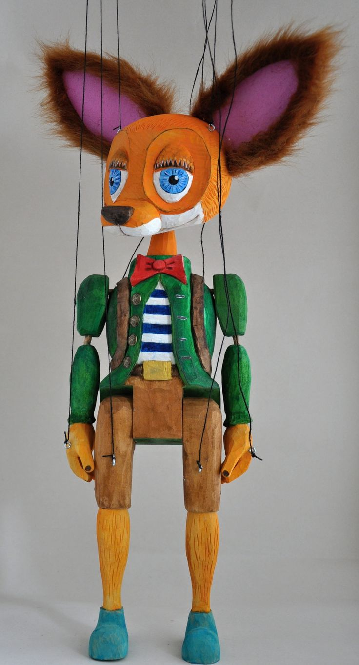 fox figure marionette doll, 45 cm, hand carved  string marionette, linden wood 2017