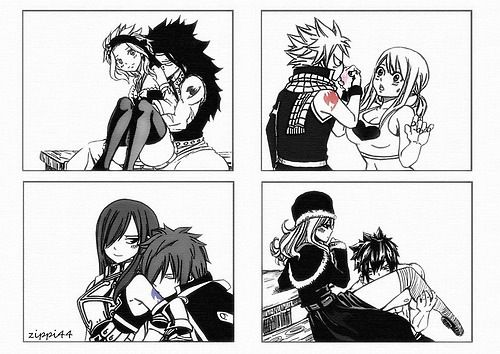 Fairy Tail couples and kisses on their guild marks. Levy/Gajeel, Natsu/Lucy, Erza/Jellal, Juvia/Gray