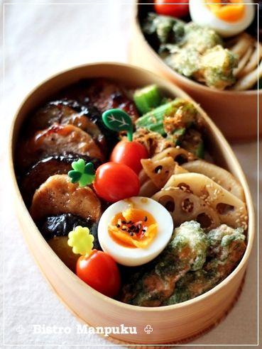 ♧ 豚ヒレとナスの味噌炒め ♧ レンコンのきんぴら ♧ オクラのおかか和え ♧ ちくわの磯辺揚げ ♧ トマト ♧ ゆで卵