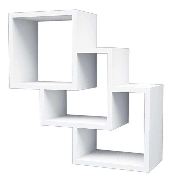 Ραφίερα τοίχου Τhree Box λευκή με 3 ράφια 57,9x19,5x57,7