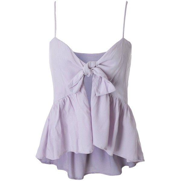 Spaghetti Strap Tie Knot Slit Peplum Tank Top ($13) ❤ liked on Polyvore featuring tops, tie-dye tank tops, peplum tanks, knot top, purple top and tie top