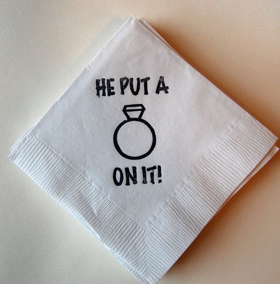 He Put a Ring on it  Cocktail Napkins / Set of by littlechicklets, $12.50