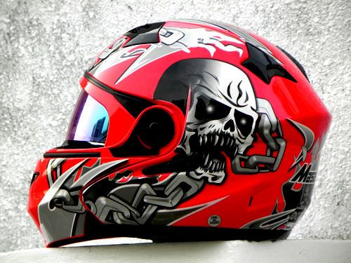 MASEI 815 DOT MOTORCYCLE HELMET RED SKULL M L XL XXL