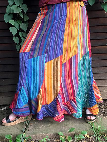 Our striped long cotton skirts have been one of our best sellers over the past few years #hippieclothes #himalayanclothing #kathmanduclothing #freespirit