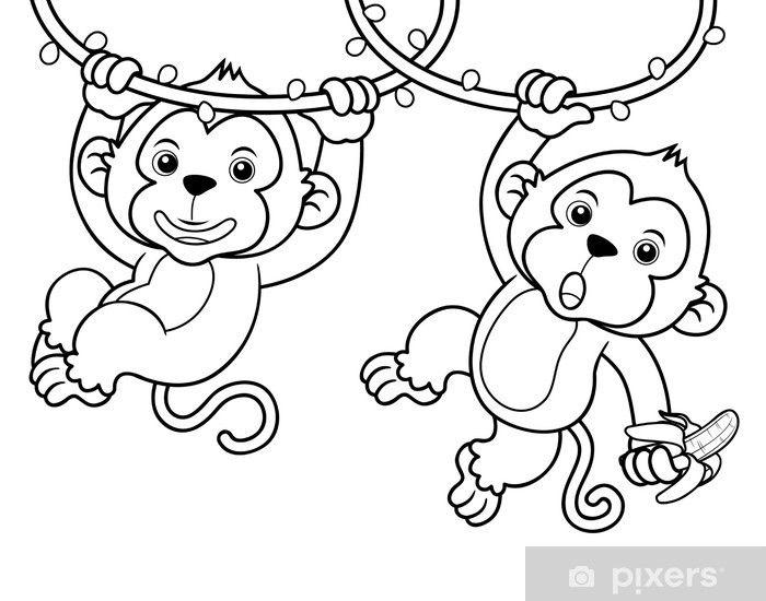 Vinilo Pixerstick Ilustracion De Dibujos Animados De Monos Libro