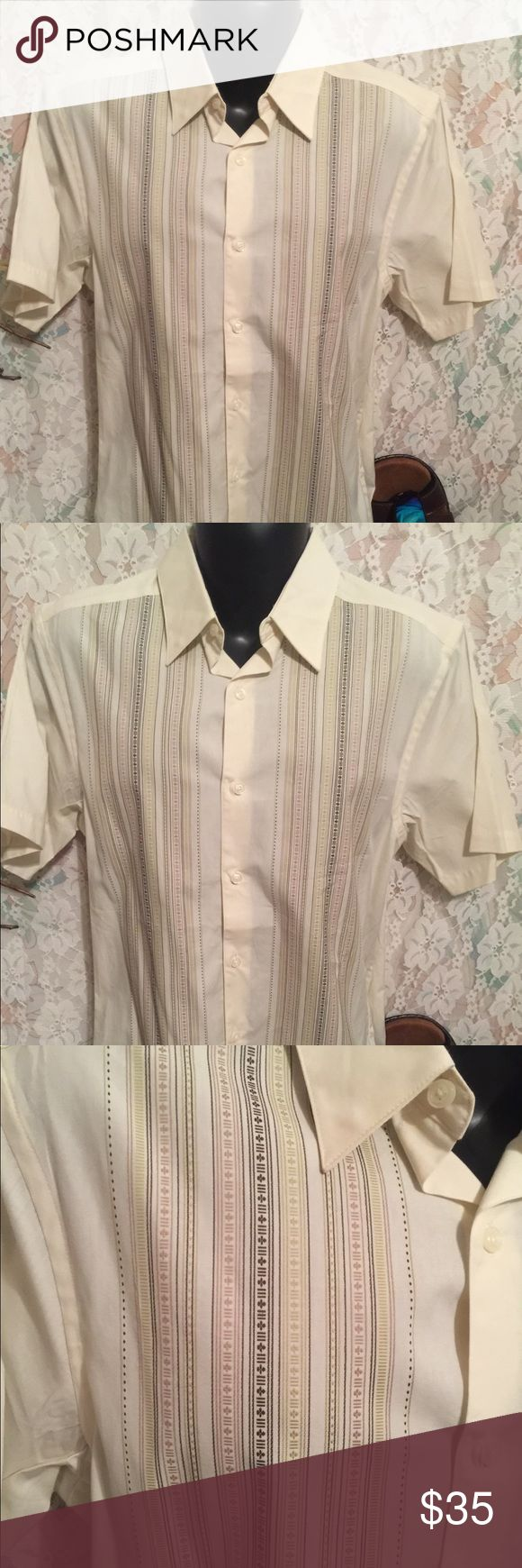 "Geoffrey Beene men's short sleeve shirt Comfortable and stylish men's dress shirt. Measures 21"" underarm to underarm and 26"" shoulder to hem.   Geoffrey Beene men's short sleeve shirt green shades in lines Geoffrey Beene Shirts Casual Button Down Shirts"