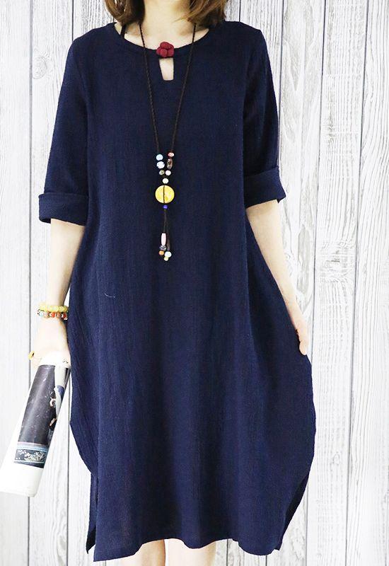 Plus size women blouse. Navy linen summer shift dress plus size sundress casual maternity shirt dress