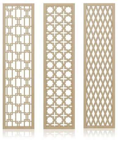 Crestview Doors decorative, midcentury-style wall screens / room dividers