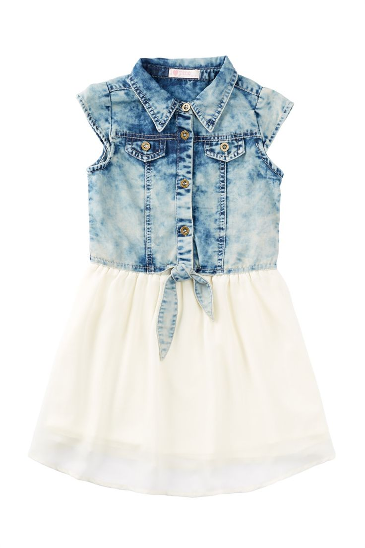 Denim Body Chiffon Dress (Little Girls) by Pinc Premium on @nordstrom_rack