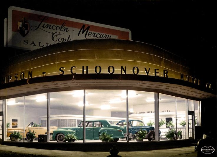 Thompson-Schoonover Motors, 1000 W. 6th Street, Topeka, Kansas; a Lincoln-Mercury dealership. Between 1940 and 1950 - from Imbued with Hues