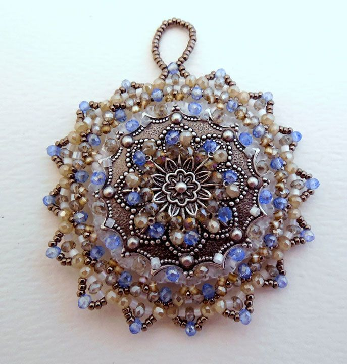 Tinka Ornament Beading Pattern by Cathy Helmers at Sova-Enterprises.com! Bead embroidery and bead weaving combine to make this lovely ornament.