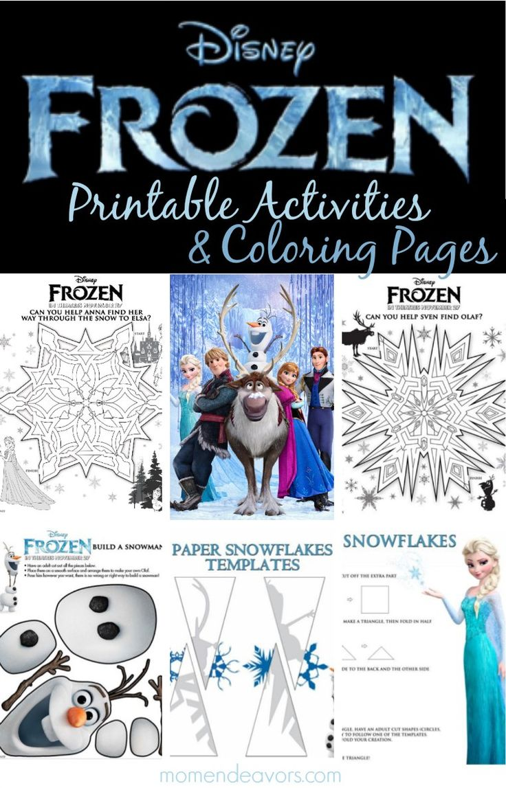 Awesome Disney's FROZEN printable activities & coloring pages! Snowflake mazes, printable character memory cards, and more! #Disney #DisneyFrozen