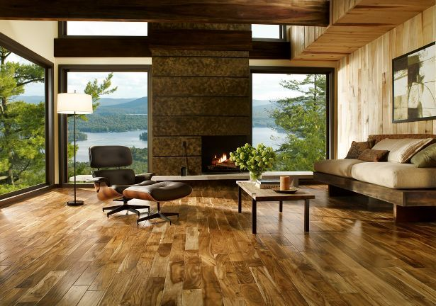 Natural Acacia adds unique exotic flair to modernized rustic mountain cabins, with varying hues throughout each plank.