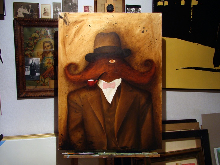 progress: *mustache man* by Robert Romanowicz, via Behance