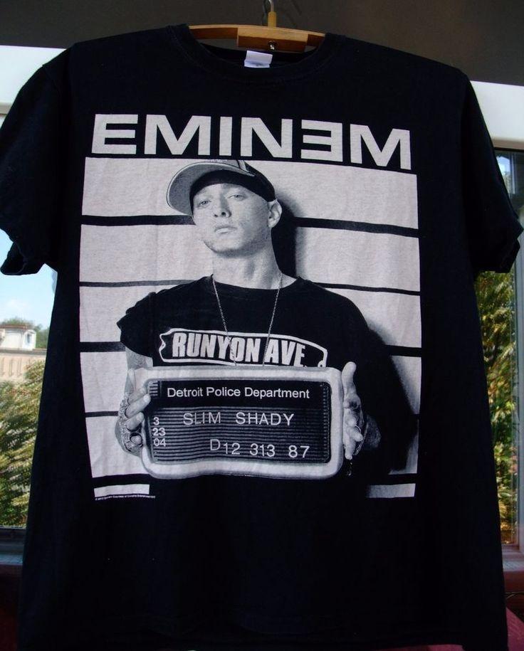 EMINEM 2013 SLIM SHADY DETROIT POLICE DEPARTMENT T-shirt black L men unisex #Gildan #GraphicTee