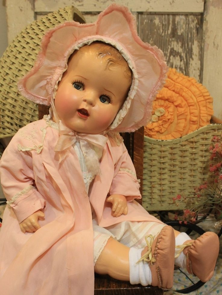 """24"""" Flirty Eye Compositioin and Cloth Antique Baby Doll in Old Vinatage Clothes   eBay"""