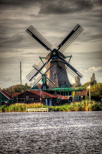 Zaanse Schans Windmills, Netherlands by CamelKW, via Flickr