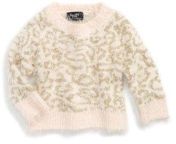 Toddler Girl's Bardot Junior Fluffy Leopard Sweater