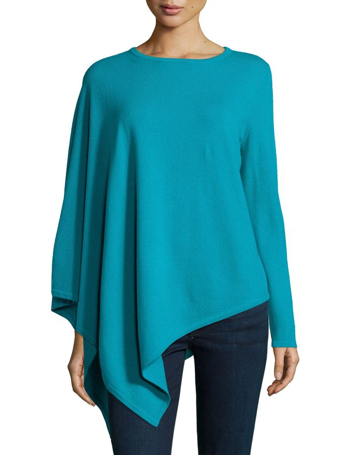One-Sleeve Cashmere Asymmetric Poncho, Women's, Size: XL, Teal Green - Neiman Marcus Cashmere Collection