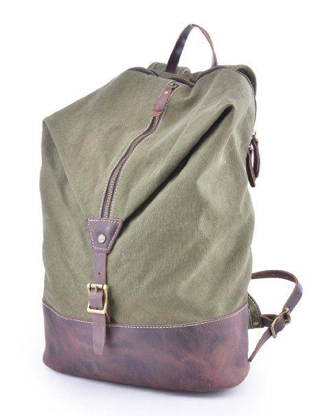 Gootium 51028AMG Vintage Canvas Unisex Notebook Rucksack für Herren/Damen, Daypack & Backpack Rucksack - Grün
