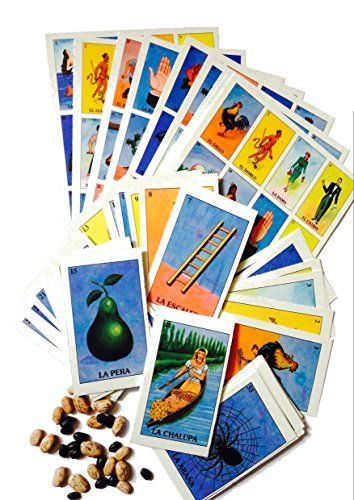 Loteria Mexican Bingo Game With Cards and Mexican Tradition Supplies Family Set Includes 10 Boards Deck of Cards and Black  Pinto Beans to Play 10 -- Want to know more, click on the image.