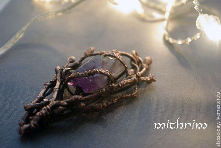 """Купить Подвеска """"Огни ноября"""" - фиолетовый, медь, медная проволока, аметист, кристалл аметиста, кристалл"""