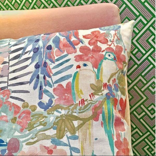 """SHERBERT/' 18/"""" LINWOOD FABRIC Cushion Cover /'RAINFOREST RABBLE VELVET"""