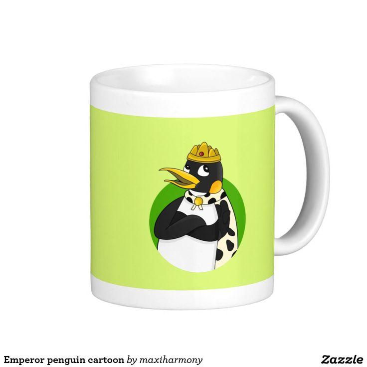 Emperor penguin cartoon classic white coffee mug