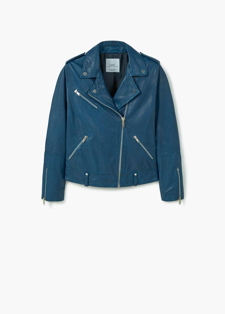 Leather biker jacket | MANGO