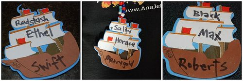 give the kids new pirate names as they come to the party - 3 boxes full of pirate names (one for the 1st name, middle, and last name).  This is a cute idea that I think the mattes  will love.