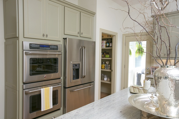 Double Wall ovens in the wall next to the fridge!