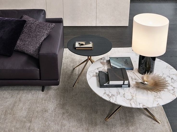 POLIFORM MONDRIAN Low round marble coffee table