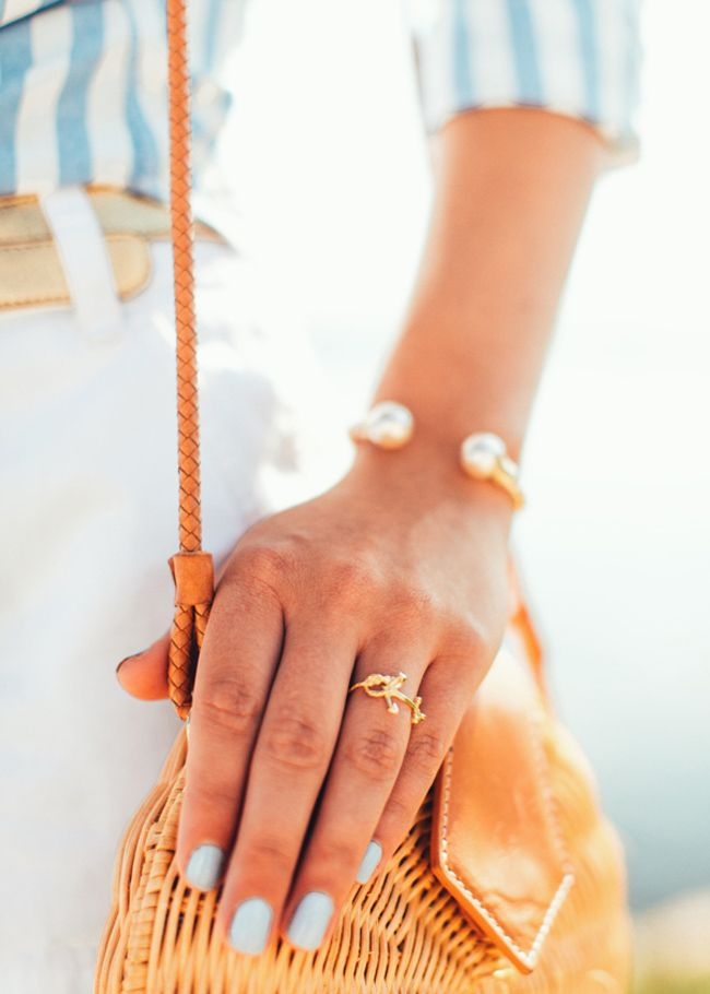 Preppy jewelry. Love this look.