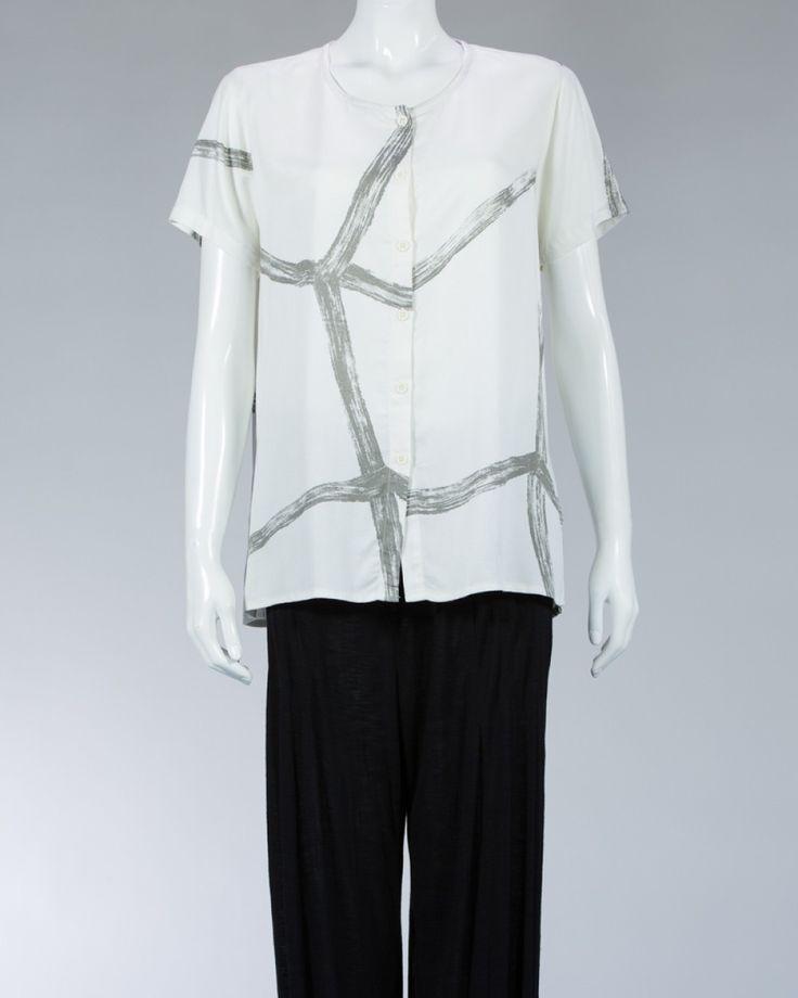 Animale ladies shirt printed motif - White #WomenSkirt #Dress #SummerFashion #Animale #WomenWear #WomenFashion #MotifClothes #LightClothes