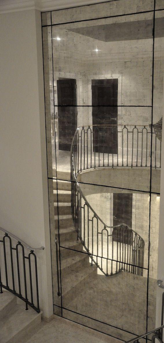 Esher Églomisé Glass. Handmade & installed by Stuart Fox Studio Ltd.  Enquiries to info@stuartfox.co.uk