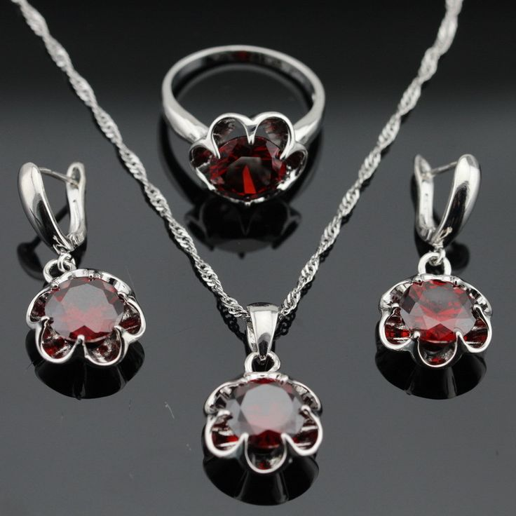 Flower Red Created Garnet Silver Color Jewelry Sets For Women Christmas Gift Made in China Earrings Rings Pendant Necklace