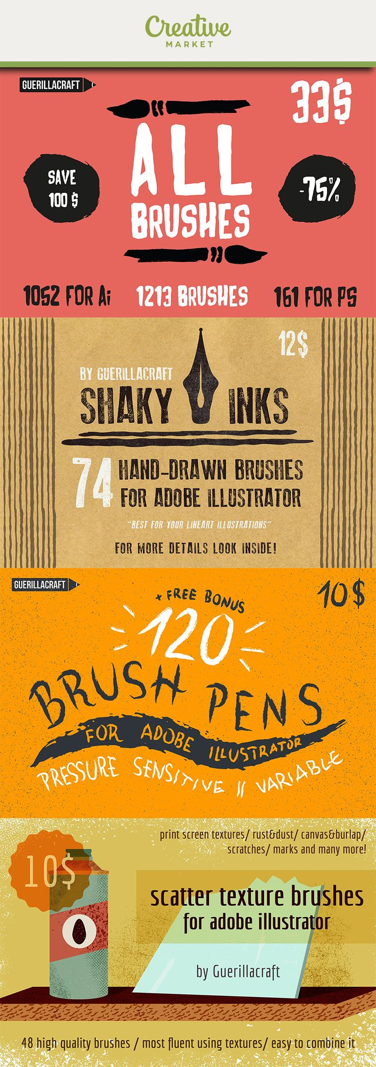 Ad: 1213 Brushes for Adobe Illustrator and Adobe Photoshop in one Megabundle. With one purchase you will get tons of brushes for your next future project. Update your brush library with Guerillacraft brushes and get access to various brushes made with various media - from ink, grain textured brushes to awesome linocuts for Adobe Illustrator. Get it now on Creative Market!