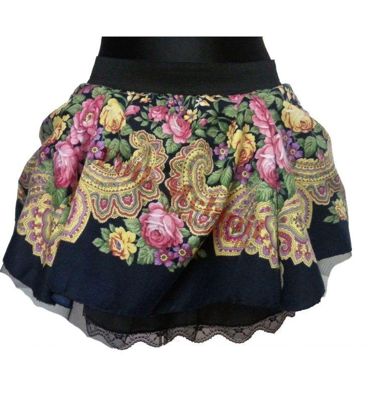 Spódnica Słowianka S6 szyta na miarę Spódnica ma 3 warstwy: -podszewkę z koronką, -tiul, -tkaninę poliestrową w góralskie wzory. Całość jest na szerokiej gumie :)